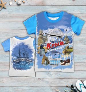 детская футболка Крым коллаж с мостом, детская футболка тельняшка, футболка тельняшка детская купить, футболка тельняшка детская ВДВ, футболка тельняшка детская оптом, футболка тельняшка детская опт, детская футболка тельняшка купить в Крыму